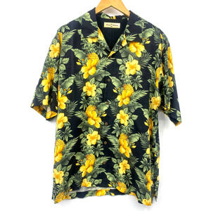 Tommy Bahama Short Sleeve Button Down Floral Print Yellow Shirt Size Medium